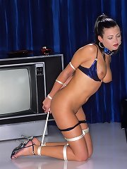 A fetish babe getting tied for sex