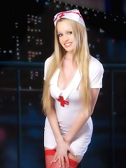 Naughty blonde nurse in latex