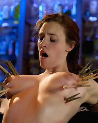 All natural big titted 19 year old is used, punished and fucked till she squirts for the first time by two sadistic lesbians