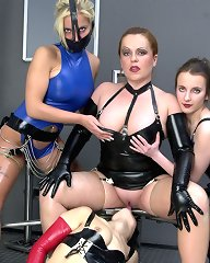 Eva invited her latex kittens for a lustful get-together