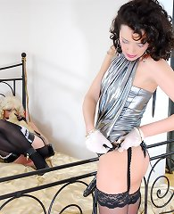 Funky sissy maid services his mistress