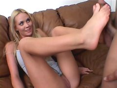 Blonde gives awesome footjob