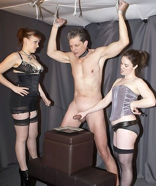 Double dommes torture male cock