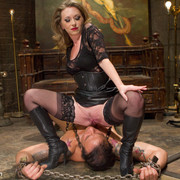 Divine Bitches - The dominatrix wanked slave`s cock