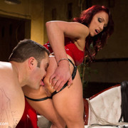 Red latex mistress made a malesub worship her ass and fuck her
