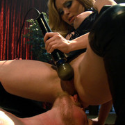 Hanging men were fucked by three beautiful mistress.