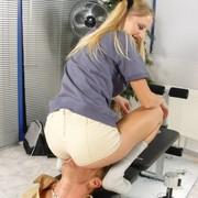 A blonde slut sitting on slave