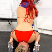 Bare ass on slave's face