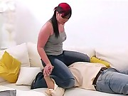 The Jill worn jeans is sitting on a slave