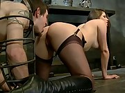 Mistress Bobbi Starr locks her cuckold slave in chastity while he's made to watch her get fucked in the ass then eat another mans cum!