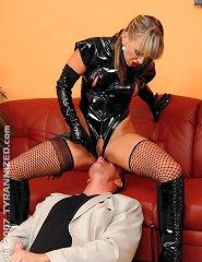 Domina jerk off to naked slave