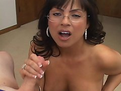 Classy brunette librarian type wanks shaft and wants more