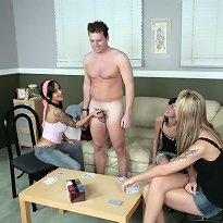 A game ff strip poker leads to jerking play