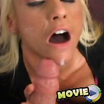 A fully clothed blonde receives a load of spunk all over face