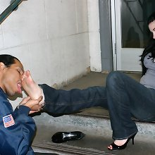 The mechanic likes to lick lady`s feet