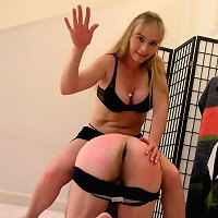 Hard exposed hand spanking
