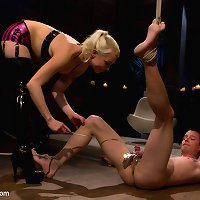 Perverted blonde with strap-on likes her slave feel humiliation