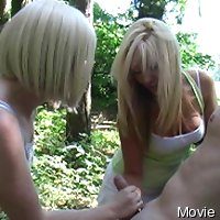 2 blondes gives outdoor cfnm handjob