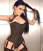 Gothic slut Darenzia stripping erotic fetish Corset