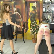 Blonde babe gets caned