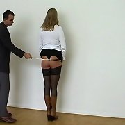 Blonde gets her bottom punished by cane