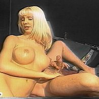Blonde babe grinds on his face and wanks his cock