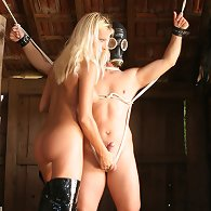 Gas mask wearing sub is strung up and teased by Lady Natalie