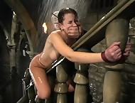 Sarah Blake is tortured with water, fucks herself on a bannister