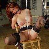 Redhead chick was bound hard on the chear