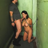 Tied slave fucked and facialized