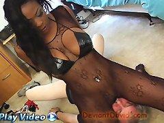 Mistress in pantyhose sat on man\'s face