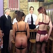 Brutal ass caning of mature sluts