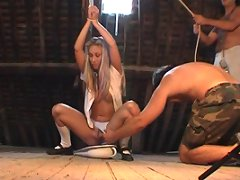 Blond hot Leona gets bound & pisses