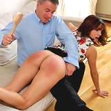 Husband spanked wife by a hairbrush