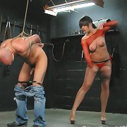 Male slave tormented in bondage
