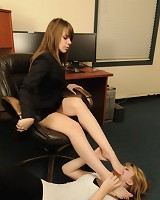 Lady boss dominate her female secretary by feet