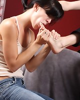 Femsub licked domme's toes