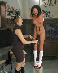 Slave stripped and caned