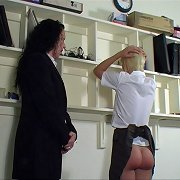 Hot blonde chick otk spanked and strapped