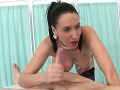 Dirty talk handjob oiled nylon milf