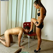 Slaveboy worshipped mistress` feet