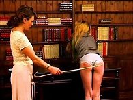 Naughty Schoolgirls get the cane from the headmistress
