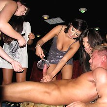 Busty office sluts get together for lunch at the club and fuck stripperboy\'s brains out!