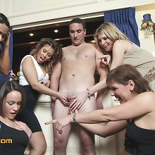 Barman is paid to strip and then sucked dry by five party girls
