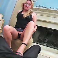 Kelly Skyline shows perfect form kicking the testicles of her worthless slave