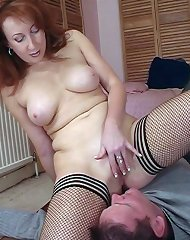 Redhiad domina smothered malesub by pussy