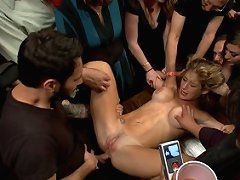 Felony's ass, pussy, and mouth are made public property, groped, fingered, and fucked by strangers at a party