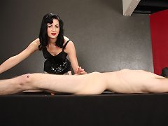 Femdom Nyxon starts playing with metal sounds down his cock and fucks his hole.