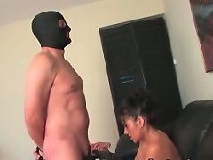 Mistress lets her captive fuck her, gives him additional satisfaction