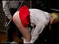 Blonde schoolgirl with cool a-hole was caned